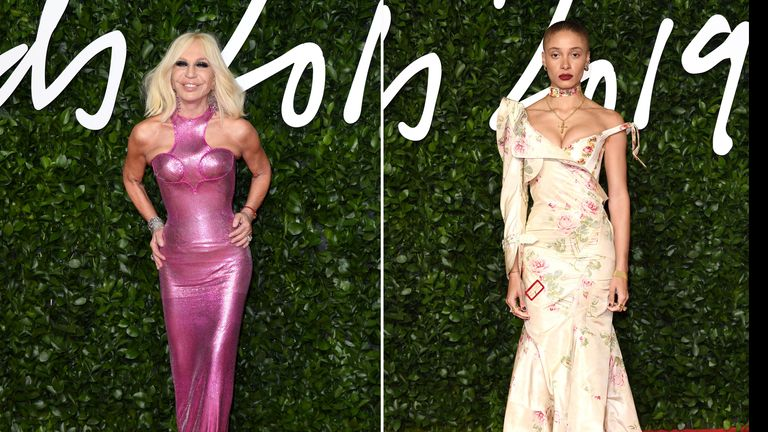 Donatella Versace and Adwoa Aboah at The Fashion Awards 2019 at the Royal Albert Hall on December 02, 2019 in London, England