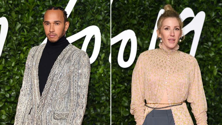 Lewis Hamilton and Ellie Goulding at The Fashion Awards 2019 at the Royal Albert Hall on December 02, 2019 in London, England