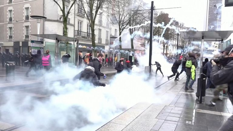 Police fired tear gas at protesters in Nantes as hundreds took to the streets for an anti-pension reform march.