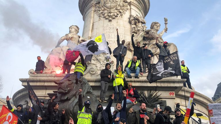 French labour union members and workers have joined protests in Paris