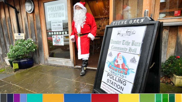 A man dressed as Father Christmas walks from his grotto in Somerset, which is being used as a polling station