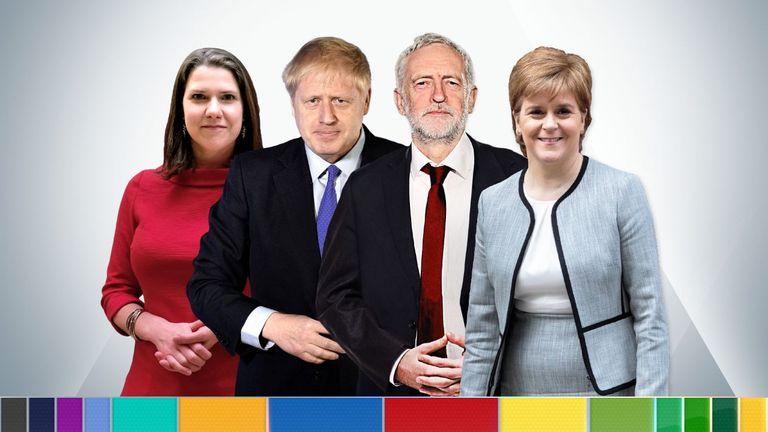 Jo Swinson, Boris Johnson, Jeremy Corbyn and Nicola Sturgeon