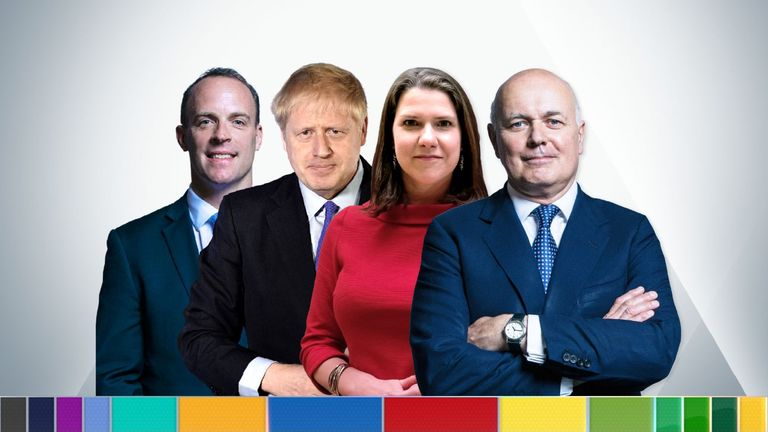 Dominic Raab, Boris Johnson, Jo Swinson and Iain Duncan Smith