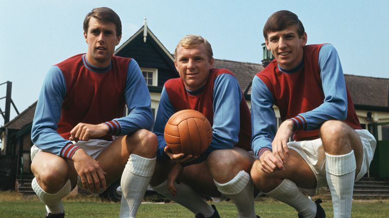 Geoff Hurst, Bobby Moore and Martin Peters in 1966