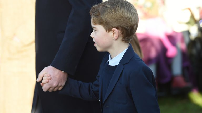 Prince George arrived with his parents