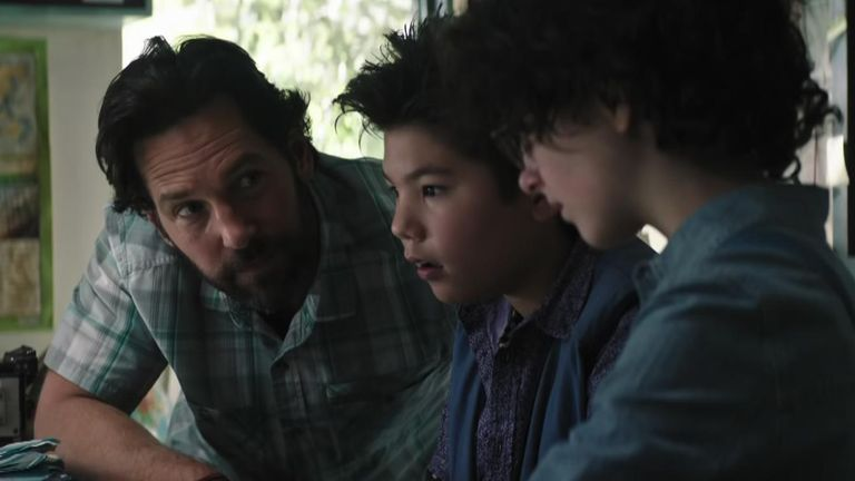 Paul Rudd is seen educating the younger cast on the events of the original films. Pic: Sony Pictures