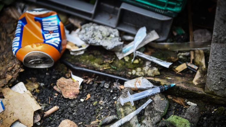 discarded drug paraphenallia in a small wooded area used by addicts to take drugs near Glasgow city centre, Scotland, on August 15 2019
