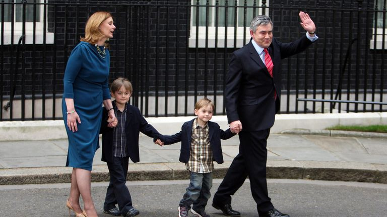 Gordon Brown and wife Sarah leave 10 Downing Street, London, with their sons John (second left) and Fraser following Mr Browns resignation as Prime Minister