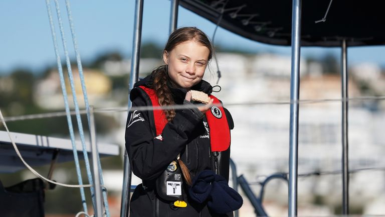 Climate change activist Greta Thunberg arrives in Lisbon.