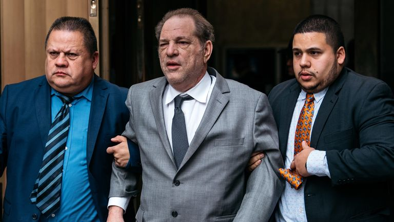 Harvey Weinstein is pictured leaving New York City Criminal Court on Friday