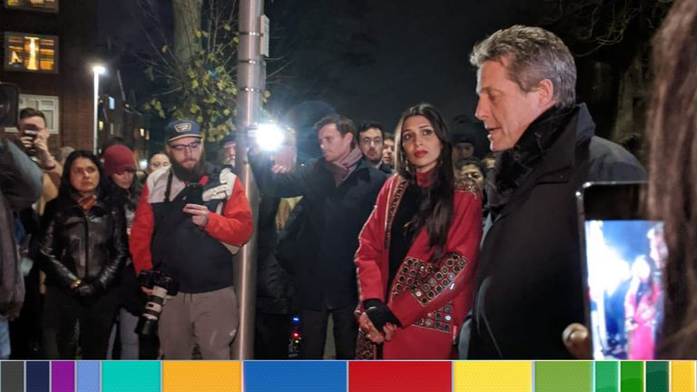 Hugh Grant supporting Labour Chingford and Woodford Green candidate Faiza Shaheen