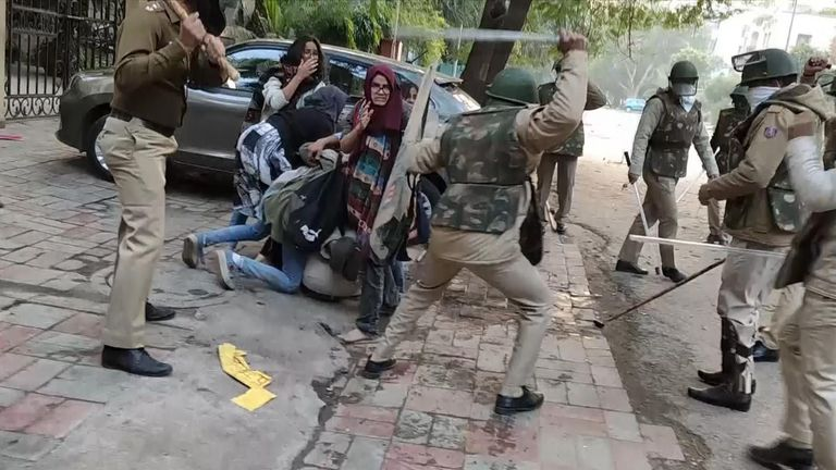 Footage of Indian police in New Delhi beating up students protesting against a new controversial law on citizenship has emerged.