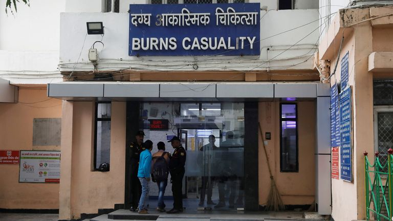 The burns casualty ward of a hospital where a 23-year-old rape victim, who was set ablaze by a gang of men