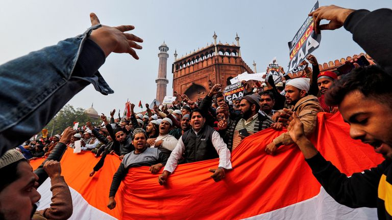 Demonstrators expressed their anger after Friday prayers at Jama Masjid in the old quarters of Delhi