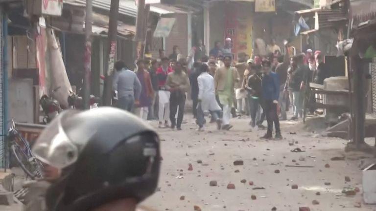 Protesters pelt stones at police during clashes in Gorakhpur, Uttar Pradesh