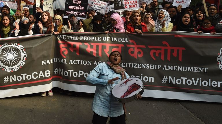 Protesters chant slogans at a demonstration against India's new citizenship law in New Delhi