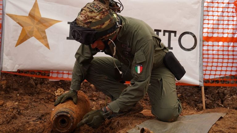 The bomb was believed to have been dropped on the city in 1941. Pic: Esercito Italiano