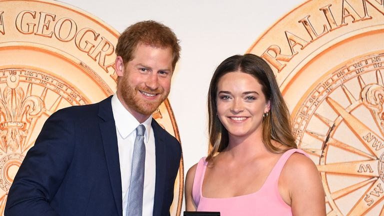 Prince Harry presents Jade Hameister with the Young Adventurer of the Year award in October