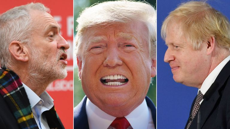 Jeremy Corbyn, Donald Trump and Boris Johnson