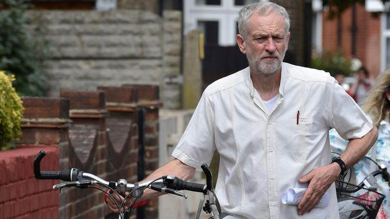 British Labour Party politician Jeremy Corbyn arrives for a community meeting in north London August 9, 2015.