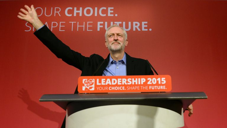 Jeremy Corbyn takes to the stage after he was announced as the Labour Party's new leader at a special conference at the QEII Centre in London. PRESS ASSOCIATION Photo. Picture date: Saturday September 12, 2015. See PA story POLITICS Labour. Photo credit should read: Stefan Rousseau/PA Wire