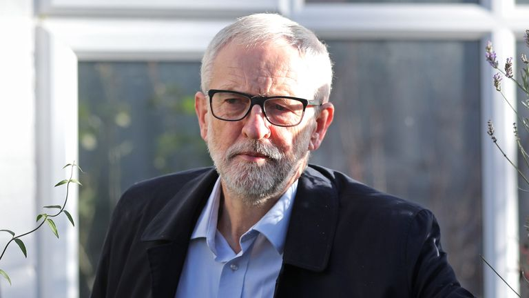 Labour Party leader Jeremy Corbyn leaves his home in Islington, north London