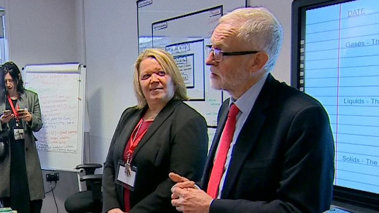 Jeremy Corbyn visits a school on his election campaign