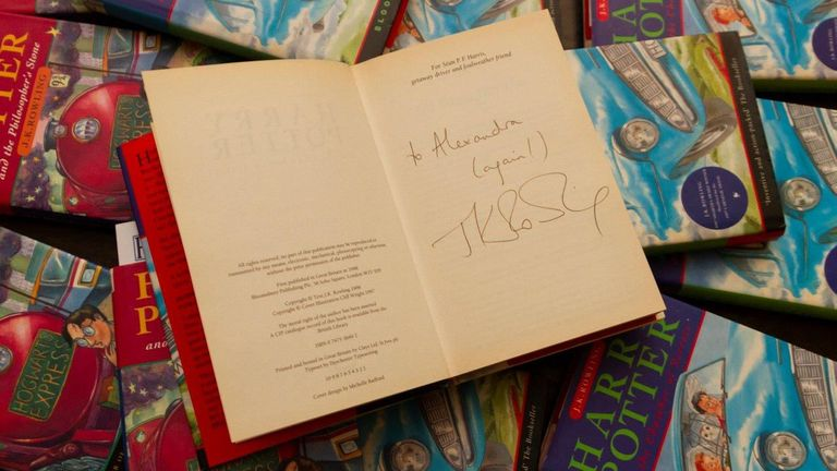 The rare copy of the book was signed by JK Rowling