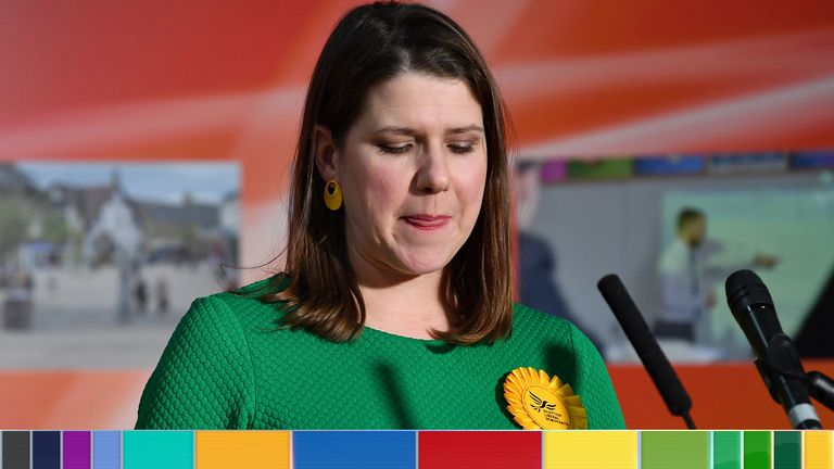 Jo Swinson speaks after losing her seat at the East Dunbartonshire count centre in Bishopbriggs, north of Glasgow