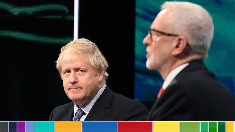 SALFORD, ENGLAND - NOVEMBER 19: (AVAILABLE FOR EDITORIAL USE UNTIL DECEMBER 19, 2019) In this handout image supplied by ITV, Prime Minister Boris Johnson and Leader of the Labour Party Jeremy Corbyn answer questions during the ITV Leaders Debate at Media Centre on November 19, 2019 in Salford, England. This evening ITV hosted the first televised head-to-head Leader's debate of this election campaign.