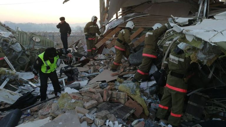 The plane crashed into a building near Almaty Airport. Pic: Ministry of Internal Affairs