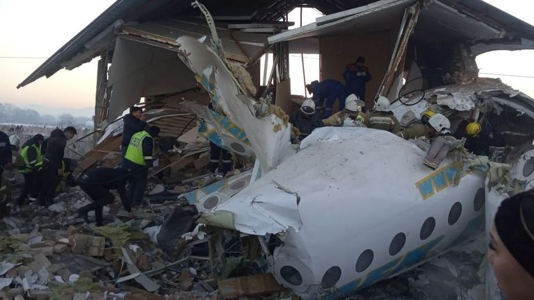 The plane had lost height during take-off. Pic: Kazakhstan Emergency Committee
