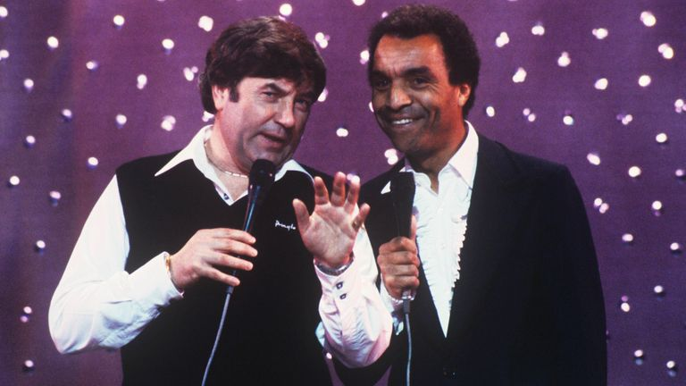'Live From Her Majesty's' TV Programme. Jimmy Tarbuck and Kenny Lynch in 1983