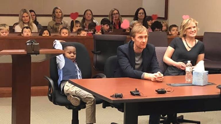 Michael invited his whole class to watch his adoption in court. Pic: Kent County Court