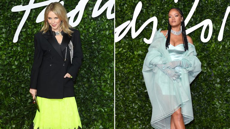 Kylie Minogue and Rihanna at The Fashion Awards 2019 held at Royal Albert Hall on December 02, 2019 in London, England