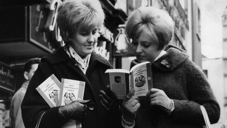 10th November 1960: Two women outside a book shop in Leicester Square, London, with paperback copies of 'Lady Chatterley's Lover' by D H Lawrence, after a jury at the Old Bailey decided that it was not obscene.