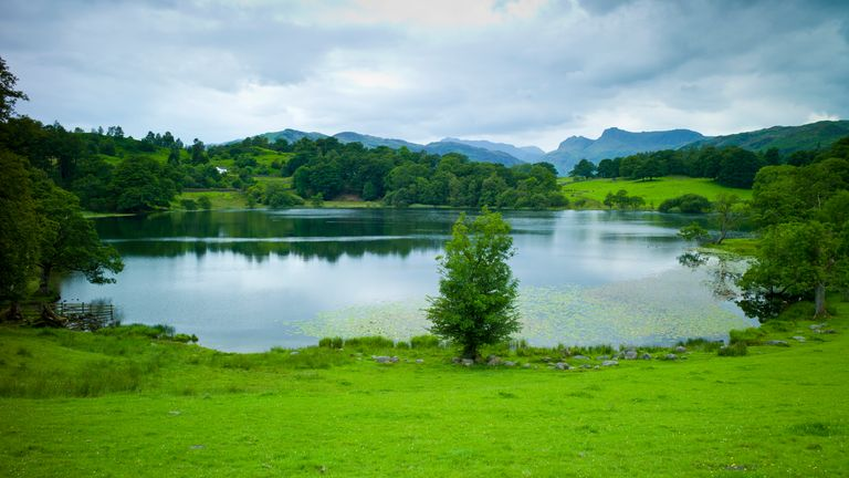 Loughrigg Tarn lake in the Lake District National Park, Cumbria,