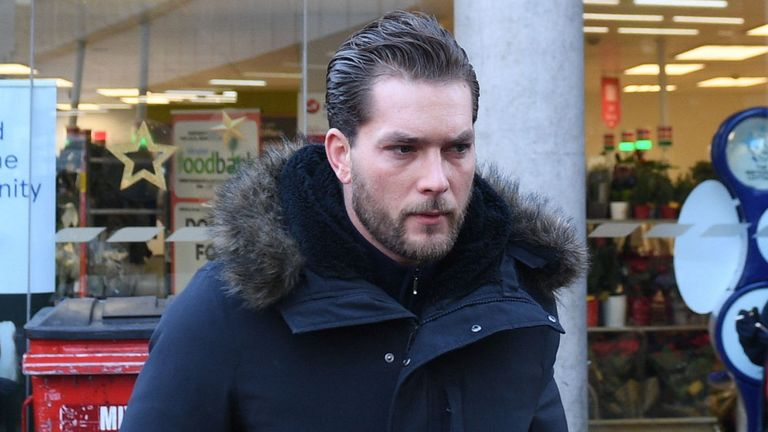 Lewis Burton arrives at Highbury Corner Magistrates' Court, where his girlfriend Caroline Flack is charged with assault