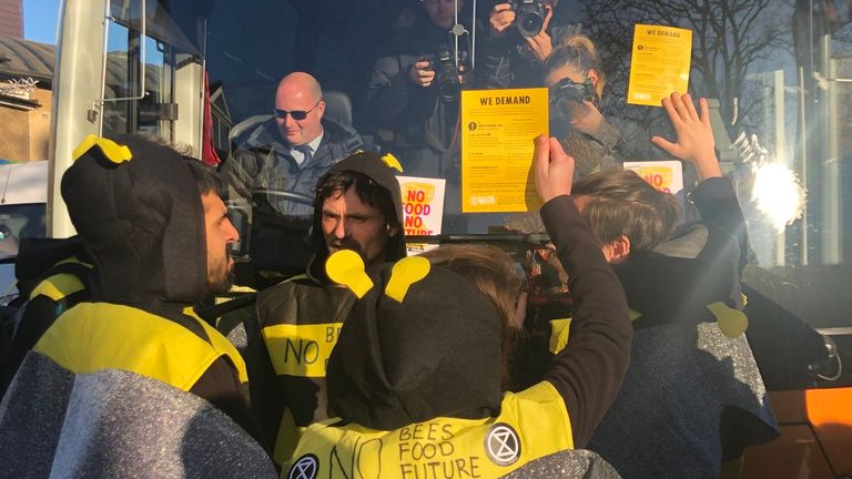 Protesters of extinction rebellion on the bus