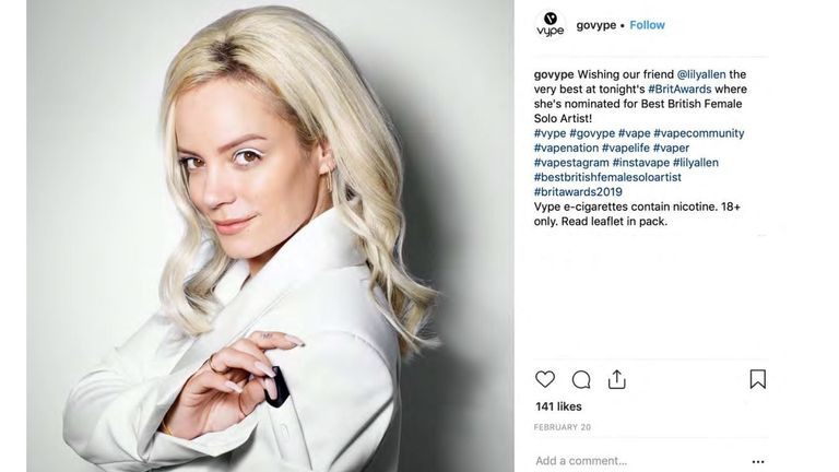 An image of Lily Allen promoting e-cigarettes was posted on Vype's public Instagram page
