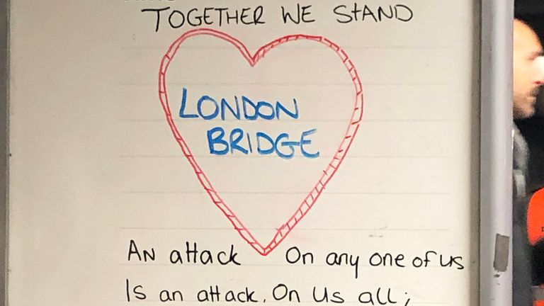 "A notice board displaying the words ""together we stand"", following the London Bridge terror attack on Friday. A vigil will be held on Monday to pay tribute to the victims of the attack and to honour the emergency services and members of the public who responded to the incident. PA Photo. Picture date: Monday December 2, 2019. See PA story POLICE LondonBridge. Photo credit should read: Tess De La Mare/PA Wire"