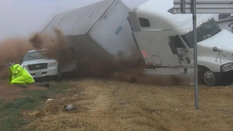 A news crew covering a highway crash in West Texas came within inches of getting caught up in another crash Friday (December 27), NBC reported.