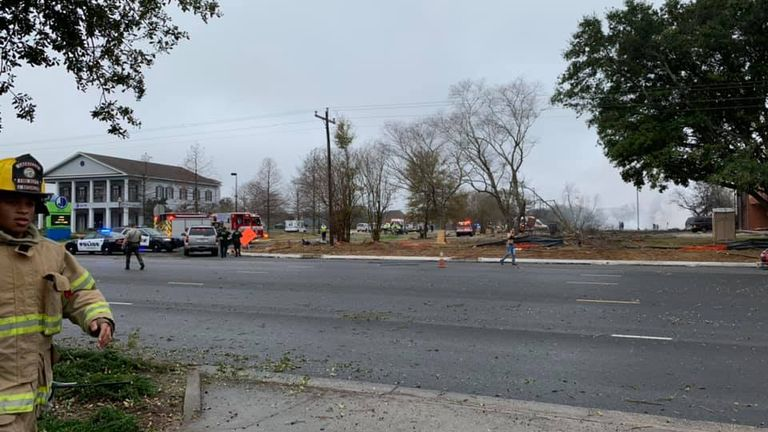 Emergency services at the scene of plane crash in Lafayette, Louisiana. Pic: Mandi A Kestler