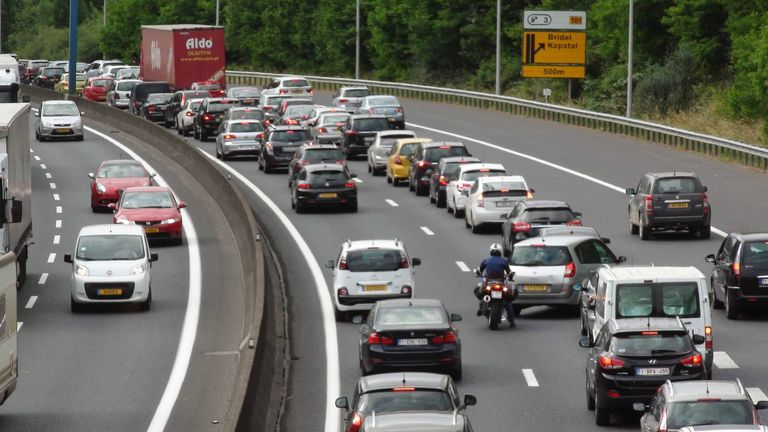 Cars drive into Luxembourg