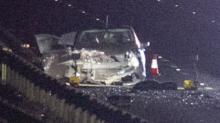 Bedfordshire, United Kingdom. 25 December 2019. The M1 motorway between junction 11a and junction 12 northbound in Bedfordshire was closed for hours after a serious road traffic collision, a number of vehicles could be seen on the carriageway with debris strewn across the northbound and southbound lanes. Credit: Peter Manning