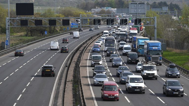 Traffic begins to build on the M1 in Bedfordshire