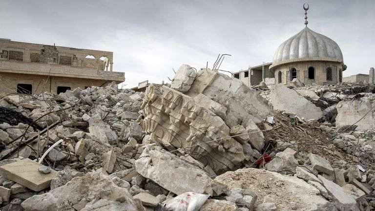 The rubble of a mosque destroyed during fighting between rebel forces and pro-Syrian government troops is seen in Maaret Al-Numan, on November 17, 2012
