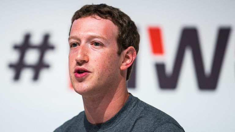 Mark Zuckerberg  during his keynote speech during the first day of the Mobile World Congress 2015