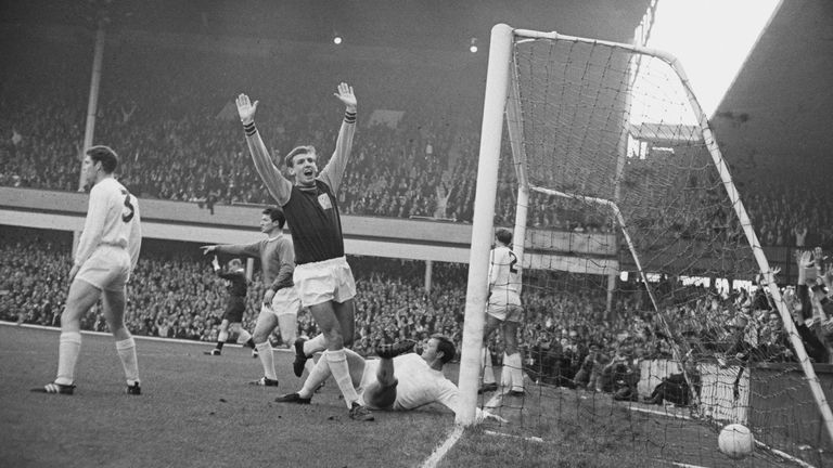 Martin Peters scores for West Ham against Sunderland FC at Upton Park in 1965