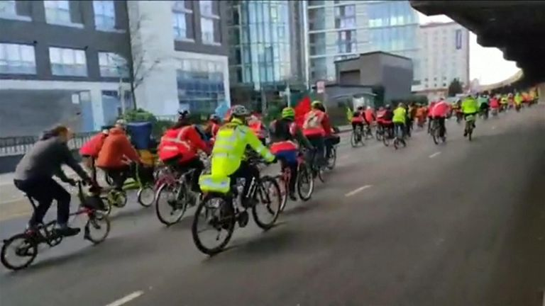 XR activists mass cycle to Heathrow airport